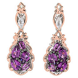 "Gems en Vogue 1.25"" 4.44ctw Color Change Garnet & Zircon Drop Earrings"