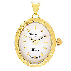 Stefano Oro 14K Gold Swiss Quartz Diamond Cut Bezel Watch Pendant