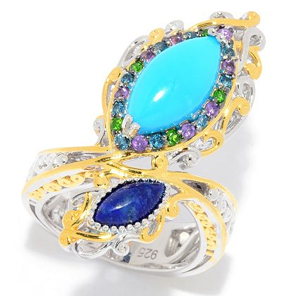 Styles from Your Favorite Brands 188-842 Gems en Vogue 14 x 7mm Sleeping Beauty Turquoise & Gemstone Peacock Feather Ring