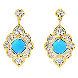 "Gems en Vogue 1.5"" 8mm Sleeping Beauty Turquoise Dangle Earrings"