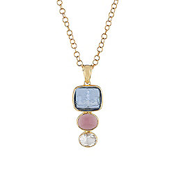 "Tagliamonte 18K Gold Accented 18"" Venetian Glass Cameo, Amethyst & White Topaz Drop Necklace"
