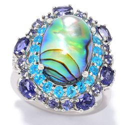 Abalone 188-907 Victoria Wieck 14 x 10mm Abalone Quartz Doublet & Multi Gemstone Halo Ring - 188-907