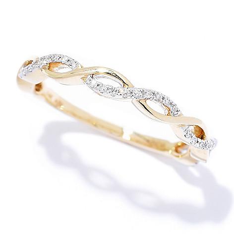 Diamond_Treasures® 14K_Gold_0.12ctw Diamond_Braided Stack_Ring
