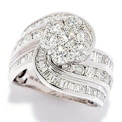 Diamond Treasures® 14K White Gold 2.94ctw Diamond Cluster Swirl Ring