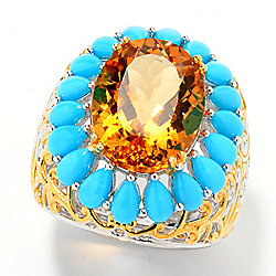Gems en Vogue 8.75ctw Bolivian Fire Citrine & Sleeping Beauty Turquoise Halo Ring