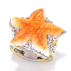 Gems en Vogue 25mm Carved Spiny Oyster Starfish & Swiss Blue Topaz Accented Ring
