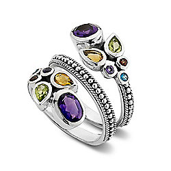 Artisan Silver by Samuel B. 2.68ctw Multi Gemstone Bypass Ring