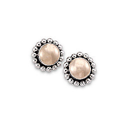 Artisan Silver by Samuel B. 18K Gold Accented Beaded Stud Earrings