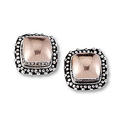 Artisan Silver by Samuel B. 18K Gold Accented Cushion Shaped Stud Earrings