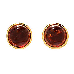 Victoria Wieck 14K Vermeil 7mm Amber Cabochon Stud Earrings