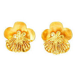 Cevherun 24K Gold Cherry Blossom Stud Earrings, 4.71 grams