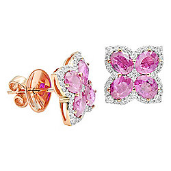 Signature Luxe 18K Rose Gold 4.14ctw Pink Sapphire & Diamond Stud Earrings