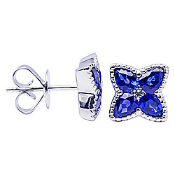 Signature Luxe 18K White Gold 2.08ctw Sapphire & Diamond Stud Earrings