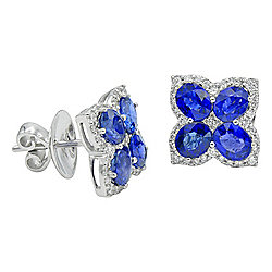Signature Luxe 18K White Gold 3.82ctw Sapphire & Diamond Stud Earrings