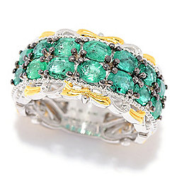 Gems en Vogue 2.38ctw Limited Edition Grizzly Emerald 2-Row Band Ring