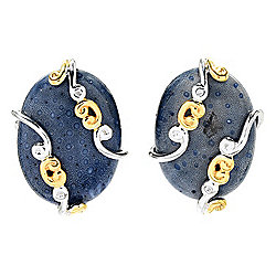Gems en Vogue 20 x 15mm Blue Coral Scrollwork Stud Earrings