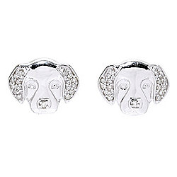 "Diamond Treasures® ""Petite Treasures"" Sterling Silver Diamond Accented Dog Stud Earrings"