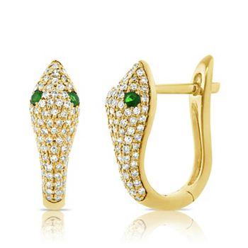 Sabrina Designs Web Exclusive Diamond Jewelry - 189-482 Sabrina Designs 14K Gold Diamond & Tsavorite Snake Hoop Earrings - 189-482