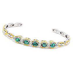 "Gems en Vogue 6.25"" or 6.75"" 1.09ctw Limited Edition Grizzly Emerald & White Zircon Cuff Bracelet"