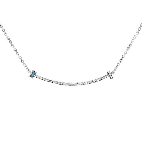 "Diamond_Treasures® ""Happy"" Sterling_Silver 18""_0.15ctw Baguette_Cut_Diamond_Curved Bar_Necklace"