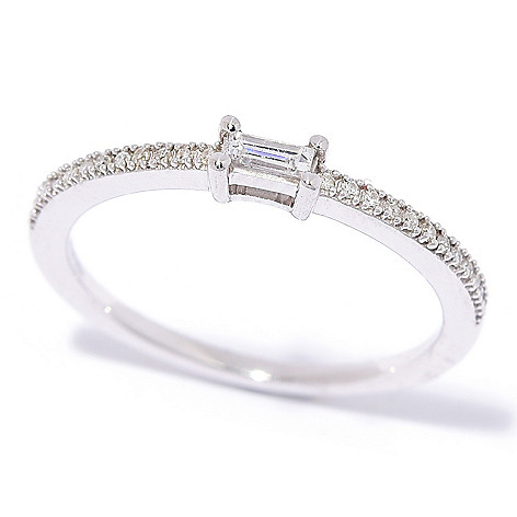Diamond_Treasures® Sterling_Silver 0.12ctw_Baguette_Cut_Diamond Half_Eternity Stack_Band_Ring
