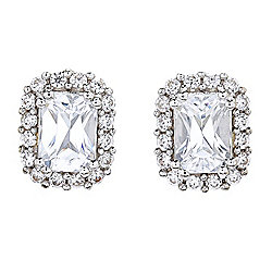 Gem Treasures® 2.88ctw 7 x 5mm Radiant Cut White Zircon Stud Earrings
