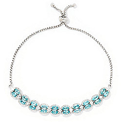 Gem Treasures® 3.88ctw Caribbean Apatite & White Zircon Adjustable Slide Bracelet
