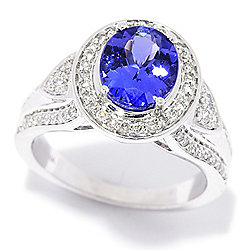 Gem Treasures® 14K White Gold 2.02ctw AAAA Tanzanite & Diamond Ring