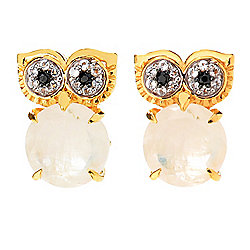 Victoria Wieck 8mm Rainbow Moonstone, Spinel & Topaz Owl Stud Earrings