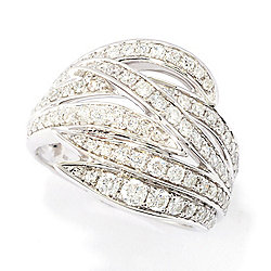 189-822 Diamond Treasures® Sterling Silver 0.95ctw Diamond Crossover Flame Ring - 189-822
