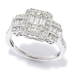 Rings - Diamond Treasures® 14K Gold 0.99ctw Baguette & Round Diamond 3-Stone Style Ring - 189-830