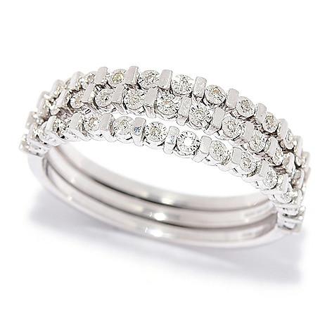 Diamond_Treasures® Set_of_3 Diamond_Accented Half_Band Stack_Rings