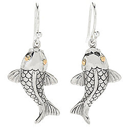"Artisan Silver by Samuel B. 18K Gold Accented 1.25"" Koi Fish Drop Earrings"