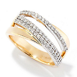 189-913 Sonia Bitton Galerie de Bijoux® 14K Gold 0.47ctw Diamond Double Crossover Wide Band Ring - 189-913