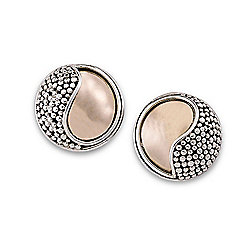 Artisan Silver by Samuel B. 18K Gold Accented Ying Yang Beaded Stud Earrings