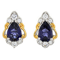 Gems en Vogue Final Cut 1.30ctw Iolite & White Zircon Pear Stud Earrings