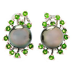 Kwan Collections Sterling Silver Tahitian Cultured Pearl & Chrome Diopside Earrings