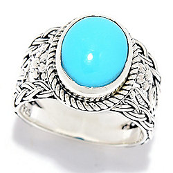 Artisan Silver by Samuel B. 10 x 8mm Sleeping Beauty Turquoise Floral Shank Ring