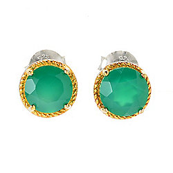 Belle Artique Two-Tone Faceted Cut Green Agate Stud Earrings