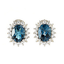"Belle Artique ""Lady Di"" Sterling Silver 3.78ctw London Blue Topaz & White Topaz Earrings"