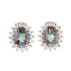 Belle Artique Sterling Silver 3.80ctw Multi Color Quartz & White Topaz Stud Earrings