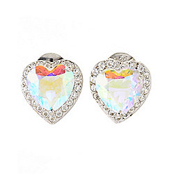 Belle Artique Sterling Silver Rainbow Quartz & White Topaz Heart Shaped Stud Earrings