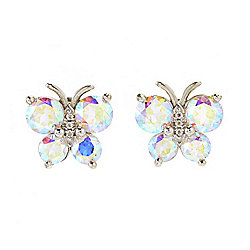 Belle Artique Sterling Silver 1.38ctw Rainbow Quartz & White Topaz Butterfly Stud Earrings