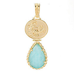 Tagliamonte 18K Gold Embraced™ Pear Cut Amazonite Chariot Cameo Enhancer Pendant