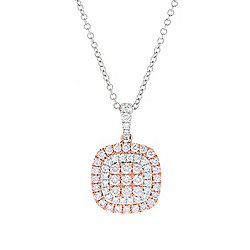"EFFY 14K Gold 1.19ctw Pink & White Diamond Pendant w/ 16"" Chain & 2"" Ext"