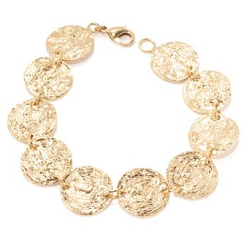 Glamorous Gold Up to 30% Off 191-043 Golden Odyssey 14K Gold Embraced™ 7.5 or 8 Van Gogh Finish Coin-Style Link Bracelet - 191-043
