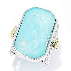 Tagliamonte Sterling Silver Elongated Amazonite Lattice Detail Doublet Ring
