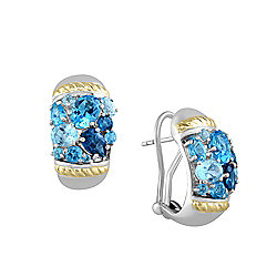 EFFY Sterling Silver 5.42ctw Blue Multi-Topaz Earrings
