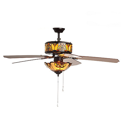 Tiffany style 52 touch of elegance double lit stained glass ceiling tiffany style 52 touch of elegance double lit stained glass ceiling fan evine aloadofball Gallery