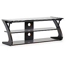 Sculpten Dark Brown & Black Modern TV Stand w/ Glass Shelves